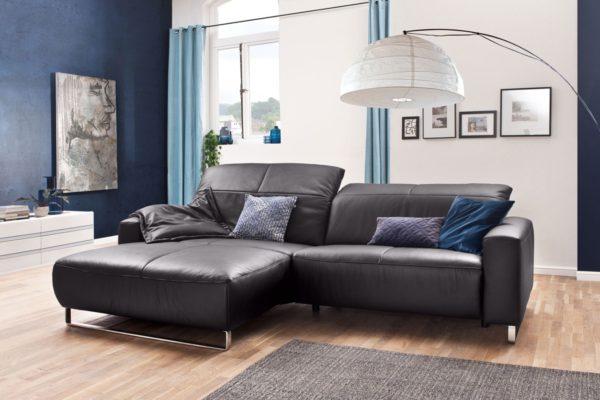 KAWOLA Sofa YORK Leder Life-line mocca Rec links Fuß Metall Chrom matt