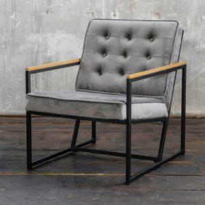 KAWOLA Sessel ARLY Polstersessel Bezug Velvet grau