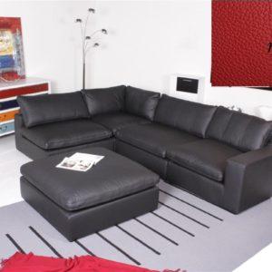 Ecksofa - Sofa Het Anker Leder rot inkl. Hocker Armlehne rechts