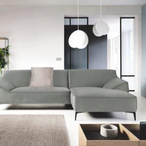 KAWOLA Ecksofa TUNIA Sofa Recamiere rechts Stoff Velvet grau