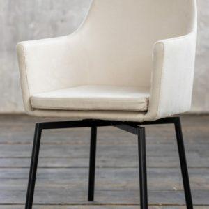Stuhl Cali Sessel Microfaser Esszimmerstuhl creme Füße matt-schwarz