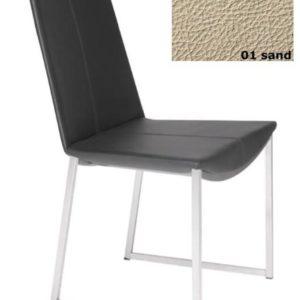 Stuhl Tibet High, Gestell Mattchrom - Leder - Sand 01