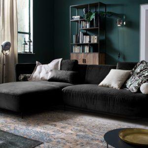 KAWOLA Sofa LUNERA Stoff Recamiere links Velvet black