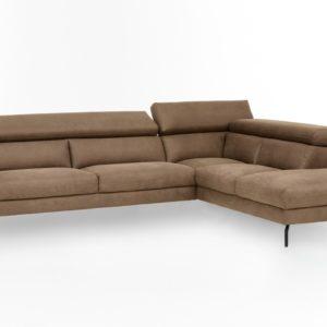 KAWOLA Ecksofa CALINA Sofa Recamiere rechts Microfaser braun