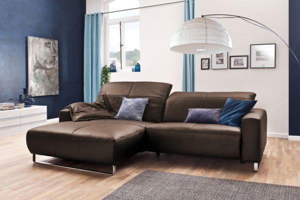 KAWOLA Sofa YORK Leder Life-line praline Rec links Fuß Metall Chrom matt mit Sitztiefenverstellung