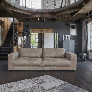 Sofa Ledersofa GIGANT 3,5-Sitzer Leder taupe inkl. 2x Nierenkissen