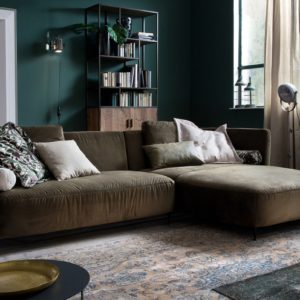 KAWOLA Sofa LUNERA Stoff Recamiere rechts Velvet oliv