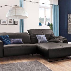 KAWOLA Sofa YORK Leder Life-line grey Rec rechts Fuß Metall schwarz mit Sitztiefenverstellung