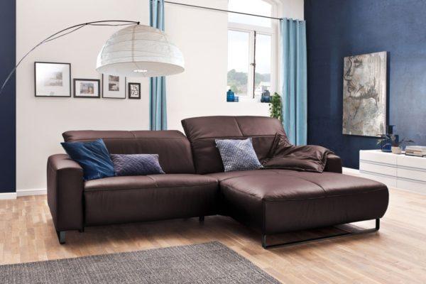 KAWOLA Sofa YORK Leder Life-line bordeaux Rec rechts Fuß Metall schwarz mit Sitztiefenverstellung