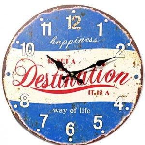 "Uhr Wanduhr Vintage ""Happiness"" 28cm"