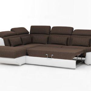 KAWOLA Ecksofa MOMO Sofa mit Schlaffunktion Recamiere links Bezug weiß/braun