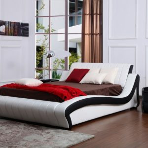 Polsterbett weiß / schwarz 140 x 200 cm HONEYMOON - Kasper Wohndesign