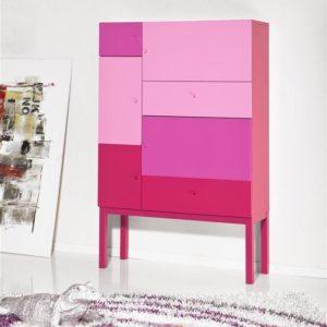 Tenzo Color-Schrank, 5 Türen/2 Schubladen - Pink