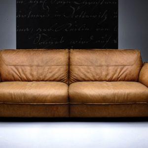 KAWOLA Sofa Davito 3-Sitzer Megasofa Leder Pallino Cognac 240x108x88cm (B/T/H)
