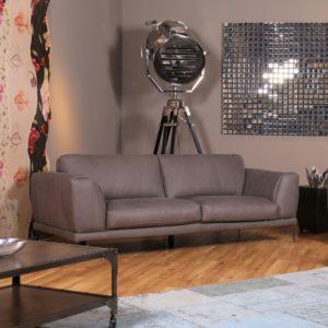 KAWOLA Sofa Deside 3-Sitzer Leder Pallino grau 225x100x82cm (B/T/H)