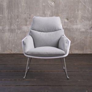 KAWOLA Sessel SONNY Relaxsessel Stoff grau mit weißer Schale