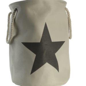 Wäschetonne Wäschebox Wäschesack Stars beige/grau