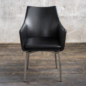 1B Stuhl Cali Sessel Leder Esszimmerstuhl schwarz Füße Edelstahl