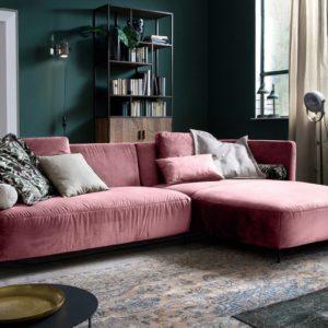 KAWOLA Sofa LUNERA Stoff Recamiere rechts Velvet rosa