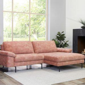 KAWOLA Sofa VISAO Ecksofa Stoff Recamiere rechts rosa