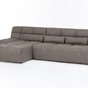 KAWOLA Ecksofa SETO Big Sofa Recamiere links Microfaser graubraun