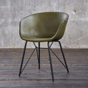 KAWOLA Stuhl DANI Esszimmerstuhl Vierfuß Kunstleder grün