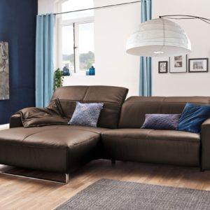 KAWOLA Sofa YORK Leder Life-line praline Rec links Fuß Metall Chrom matt