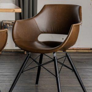 KAWOLA Stuhl ZAJA Esszimmerstuhl Kunstlederbezug Vintage dunkelbraun