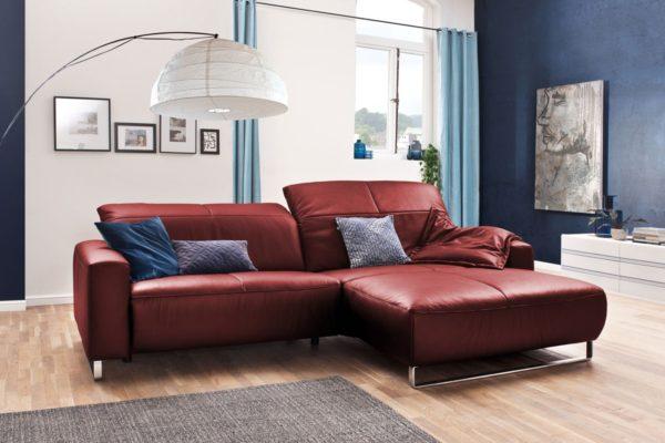 KAWOLA Sofa YORK Leder Life-line cherry Rec rechts Fuß Metall Chrom matt mit Sitztiefenverstellung