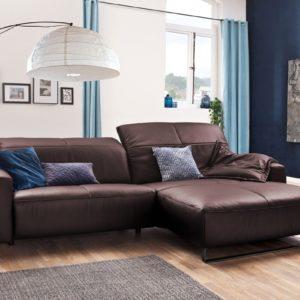 KAWOLA Sofa YORK Leder Life-line bordeaux Rec rechts Fuß Metall schwarz