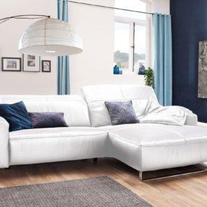 KAWOLA Sofa YORK Leder Life-line white Recamiere rechts Fuß Metall Chrom matt