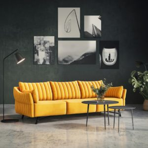 KAWOLA Sofa CELIA 3-Sitzer Stoff gelb