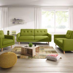 KAWOLA Sitzgruppe ALEXO 3-Sitzer 2-Sitzer Sofa Sessel Stoff grün