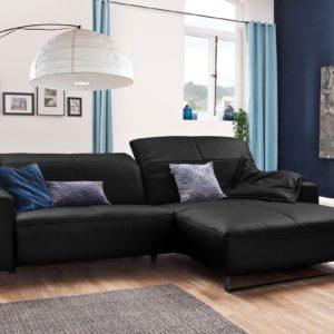 KAWOLA Sofa YORK Leder Life-line schwarz Rec rechts Fuß Metall schwarz mit Sitztiefenverstellung