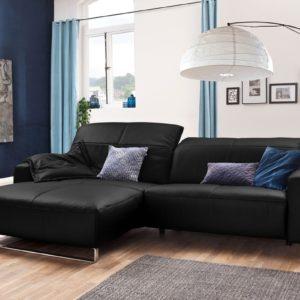 KAWOLA Sofa YORK Leder Life-line schwarz Rec links Fuß Metall Chrom matt mit Sitztiefenverstellung
