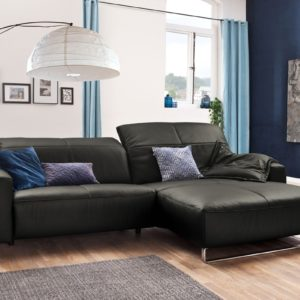 KAWOLA Sofa YORK Leder Life-line fango Rec rechts Fuß Metall Chrom matt mit Sitztiefenverstellung