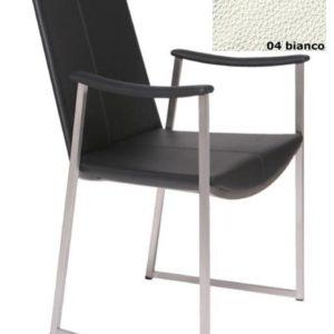 Stuhl Tibet High mit Armlehnen Gestell Mattchrom - Leder - Bianco04
