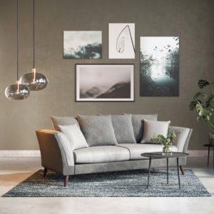 KAWOLA Sofa LAPAZ 3-Sitzer Stoff grau