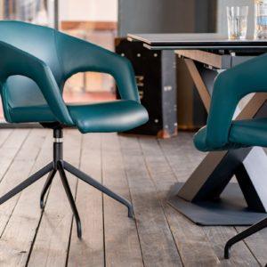 KAWOLA Essgruppe 7-Teilig Tisch PENNY dunkelgrau mit 6x Stuhl SWIRL Kunstleder blau
