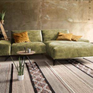 KAWOLA Ecksofa KENDY 1,5-Sitzer Recamiere rechts Velvet olivgrün