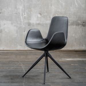 KAWOLA Stuhl QUEN Drehstuhl Esszimmerstuhl Besprechungsstuhl Kunstleder schwarz