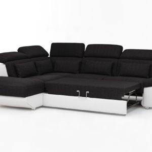 KAWOLA Ecksofa MOMO Sofa mit Schlaffunktion Recamiere links Bezug weiß/anthrazit
