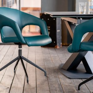 KAWOLA Besprechungsstuhl SWIRL Stuhl Kunstleder blau