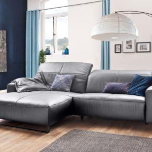 KAWOLA Sofa YORK Leder Life-line light-grey Rec links Fuß Metall schwarz mit Sitztiefenverstellung