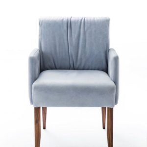KAWOLA Stuhl LAMIS Esszimmerstuhl MIT Armlehne Leder Blau Nussbaumholzfüße