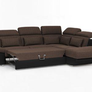 KAWOLA Ecksofa MOMO Sofa mit Schlaffunktion Recamiere rechts Bezug schwarz/braun