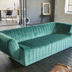 KAWOLA Sofa NORLO 3-Sitzer Stoff velvet grün