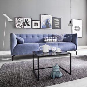 KAWOLA 3-Sitzer Sofa COONIE Stoff blau
