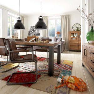 KAWOLA Essgruppe SAZAR mit 8 Echtlederstühlen und Esstisch NELA 300x110x76cm (L/B/H)