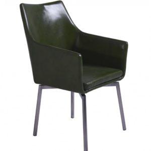 Stuhl Cali Sessel Leder Esszimmerstuhl grün Füße Edelstahl